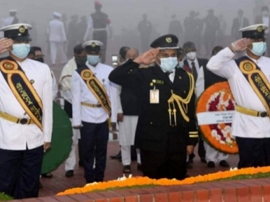 President Hamid, Prime Minister Hasina pay tributes at the National Memorial