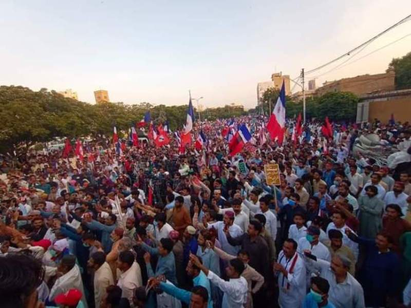 Sindhi community people demonstrate against Pakistan govt's decision to annex Sindh Islands