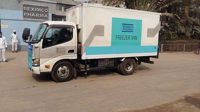 Covid-19 vaccines transported in freezer vans