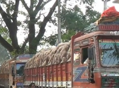 Indian onions awaiting entry at Bhomra port