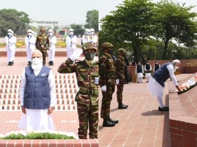 Indian PM Modi pays tribute to martyrs of Liberation War, plants sapling