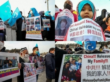 Uighurs protest in front of the Chinese embassy in Turkey