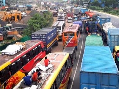 Massive traffic congestion covers 35 kilometres on the Tangail highway